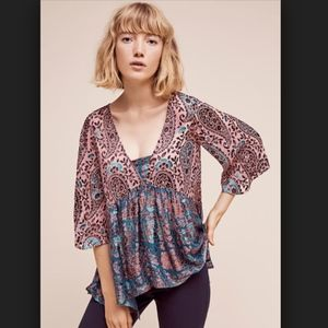 Anthro Floreat Valo Silk Burn Out Velvet Blouse
